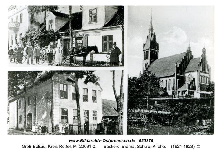Groß Bößau, Bäckerei Brama, Schule, Kirche