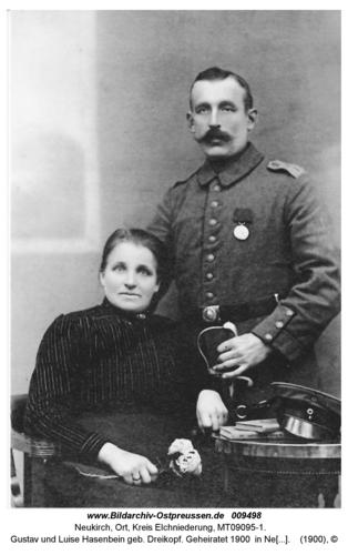 Gustav und Luise Hasenbein geb. Dreikopf. Geheiratet 1900 in Neukirch. (Seckenburg)