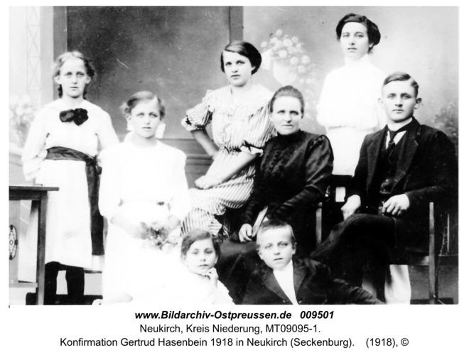 Konfirmation Gertrud Hasenbein 1918 in Neukirch (Seckenburg)