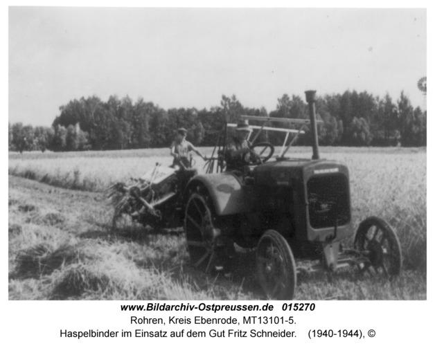 Rohren (fr. Groß Wannaguppchen), Haspelbinder im Einsatz auf dem Gut Fritz Schneider
