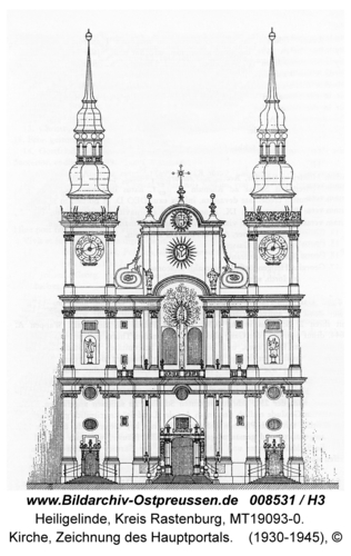 Heiligelinde, Kirche, Zeichnung des Hauptportals