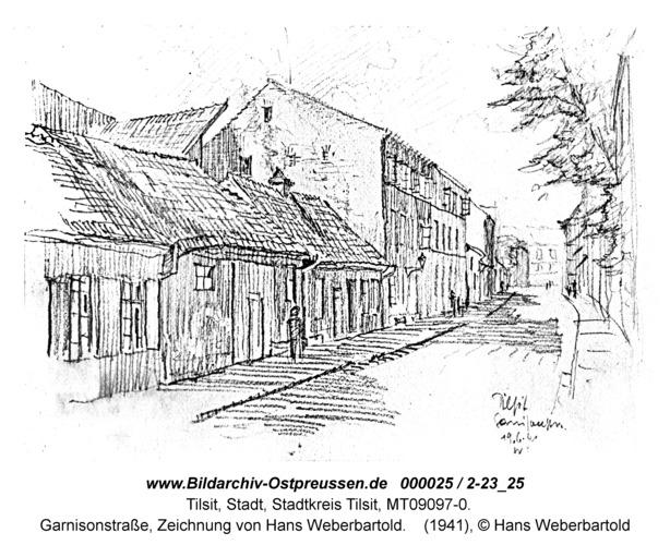 Tilsit, Garnisonstraße, Zeichnung von Hans Weberbartold