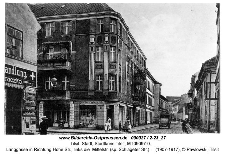 Tilsit, Langgasse in Richtung Hohe Str., links die Mittelstr. (sp. Schlageter Str.)