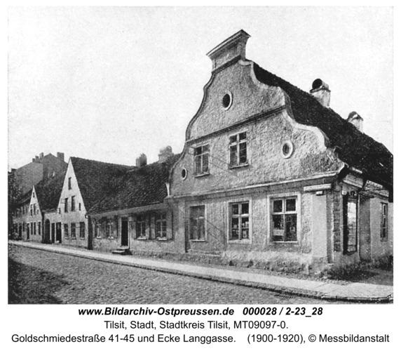 Tilsit, Goldschmiedestraße 41-45 und Ecke Langgasse