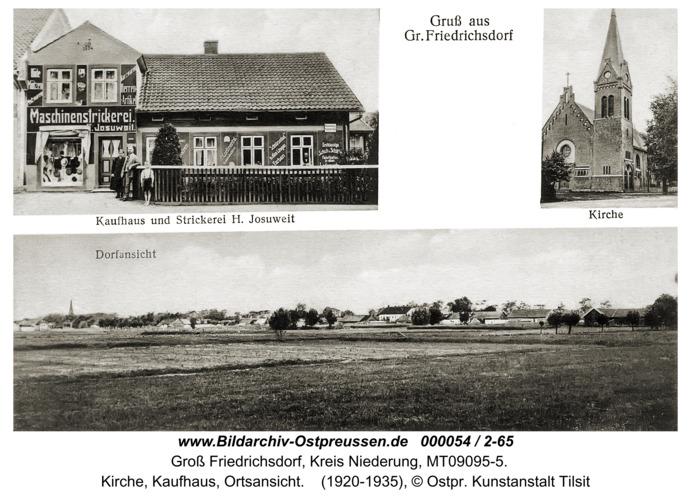Groß Friedrichsdorf, Kirche, Kaufhaus, Ortsansicht