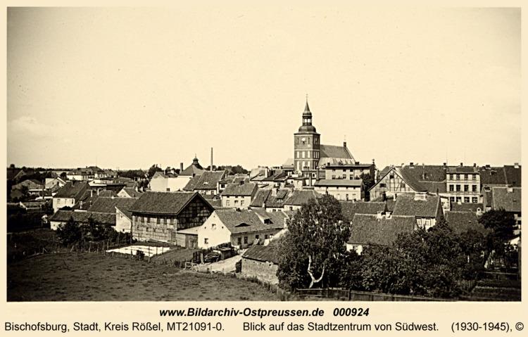 Bischofsburg, Blick auf das Stadtzentrum von Südwest