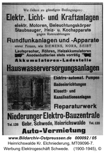 Heinrichswalde, Werbung Elektrogeschäft Schwede