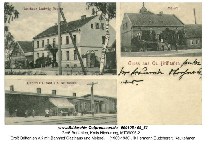 Groß Brittanien AK mit Bahnhof Gasthaus und Meierei