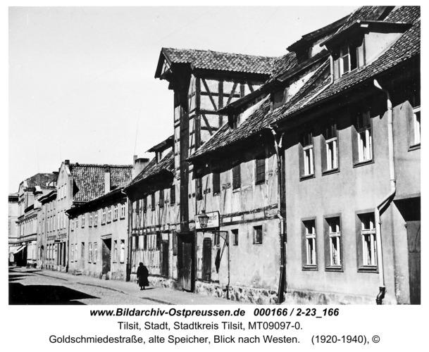 Tilsit, Goldschmiedestraße, alte Speicher, Blick nach Westen