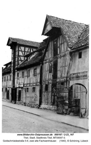 Tilsit, Goldschmiedestraße 5-6, zwei alte Fachwerkhäuser