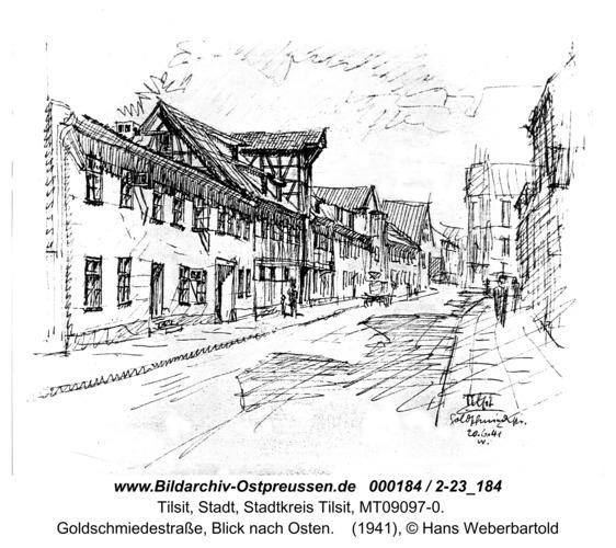 Tilsit, Goldschmiedestraße, Blick nach Osten (Zeichnung)