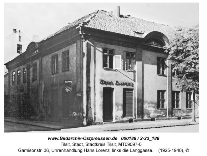 Tilsit, Garnisonstr. 36, Uhrenhandlung Hans Lorenz, links die Langgasse
