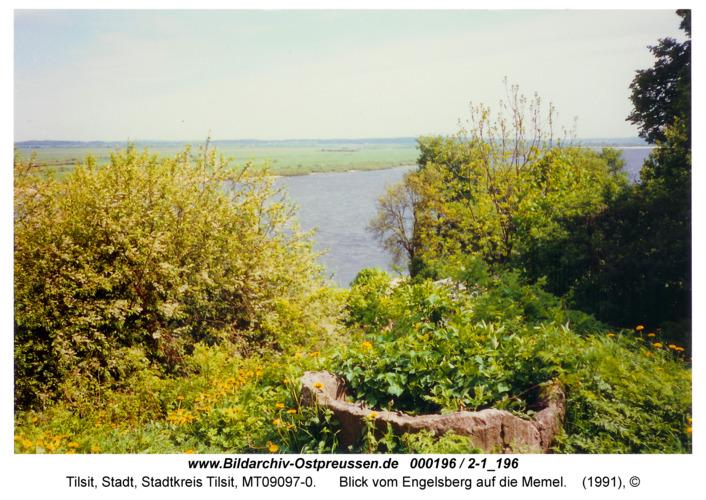 Tilsit, Blick vom Engelsberg auf die Memel