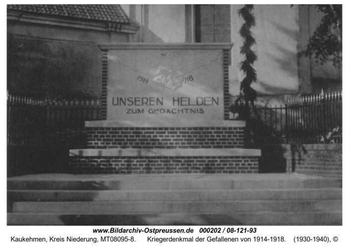 Kuckerneese, Kriegerdenkmal der Gefallenen von 1914-1918