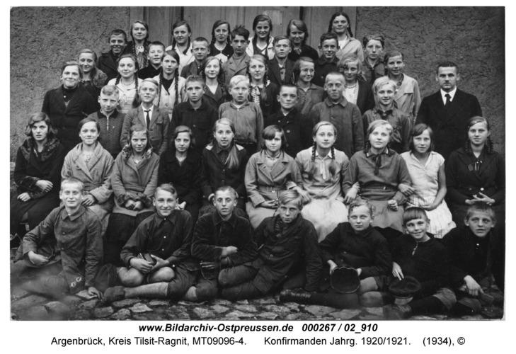 Argenbrück, Konfirmanden Jahrg. 1920/1921