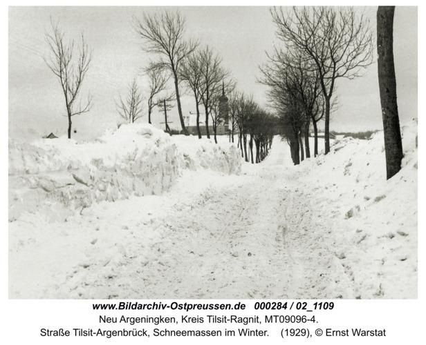 Argenbrück, Straße Tilsit-Argenbrück, Schneemassen im Winter