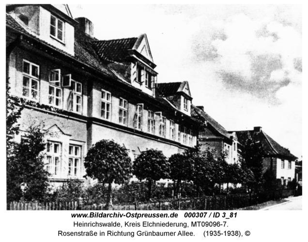 Heinrichswalde, Rosenstraße in Richtung Grünbaumer Allee
