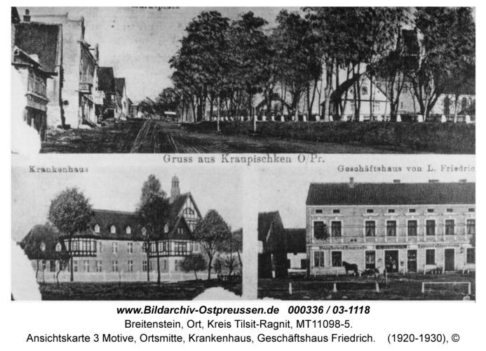 Breitenstein, Ansichtskarte 3 Motive, Ortsmitte, Krankenhaus, Geschäftshaus Friedrich
