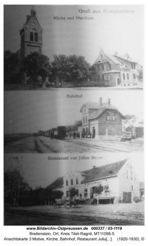 Breitenstein, Ansichtskarte 3 Motive, Kirche, Bahnhof, Restaurant Julius Meyer