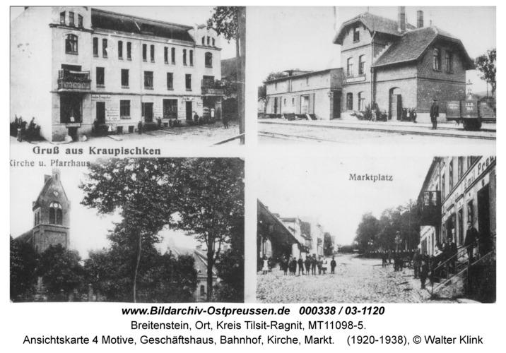 Breitenstein, Ansichtskarte 4 Motive, Geschäftshaus, Bahnhof, Kirche, Markt