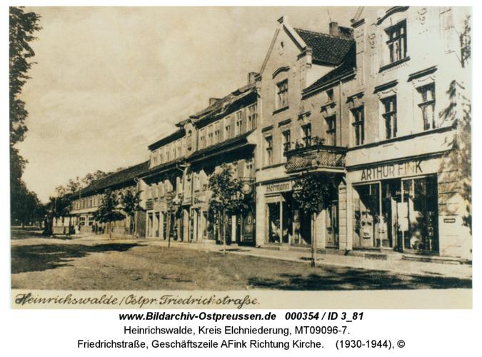 Heinrichswalde, Friedrichstraße, Geschäftszeile AFink Richtung Kirche