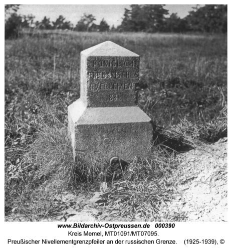 Bei Nimmersatt, Preußischer Nivellementgrenzpfeiler an der russischen Grenze
