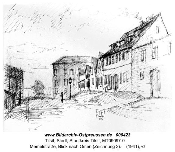 Tilsit, Memelstraße, Blick nach Osten (Zeichnung 3)