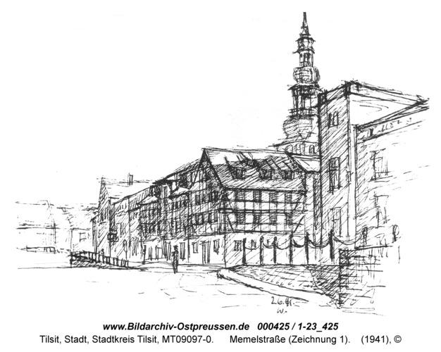 Tilsit, Memelstraße (Zeichnung 1)
