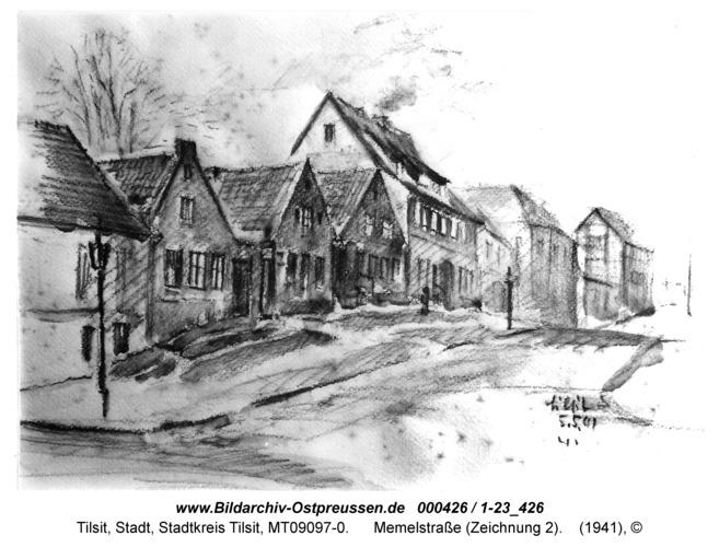Tilsit, Memelstraße (Zeichnung 2)