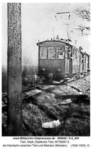 Tilsit, die Kleinbahn zwischen Tilsit und Miekiten (Mikieten)