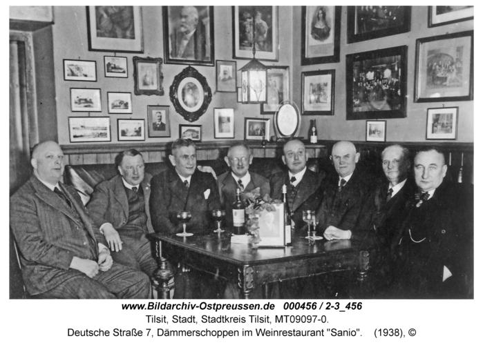 """Tilsit, Deutsche Straße 7, Dämmerschoppen im Weinrestaurant """"Sanio"""""""
