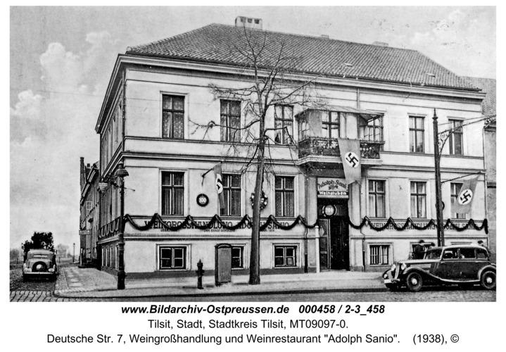 """Tilsit, Deutsche Str. 7, Weingroßhandlung und Weinrestaurant """"Adolph Sanio"""""""