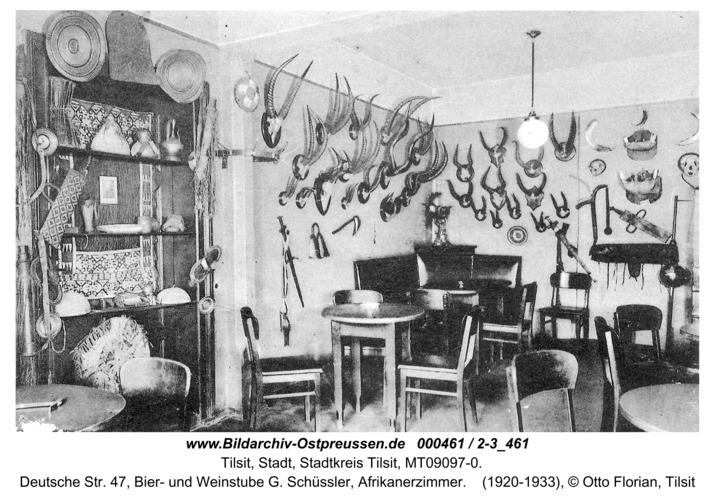 Tilsit, Deutsche Str. 47, Bier- und Weinstube G. Schüssler, Afrikanerzimmer