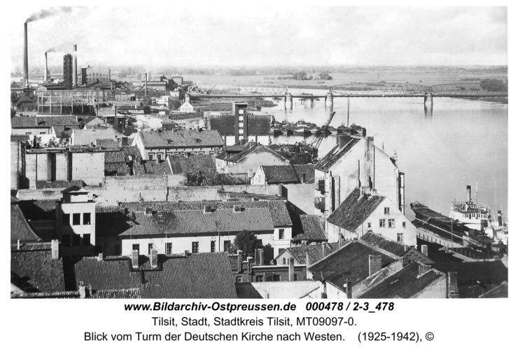 Tilsit, Blick vom Turm der Deutschen Kirche nach Westen