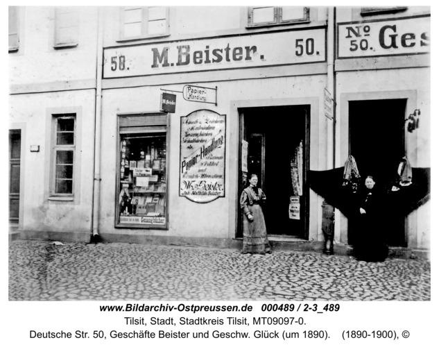 Tilsit, Deutsche Str. 50, Geschäfte Beister und Geschw. Glück (um 1890)