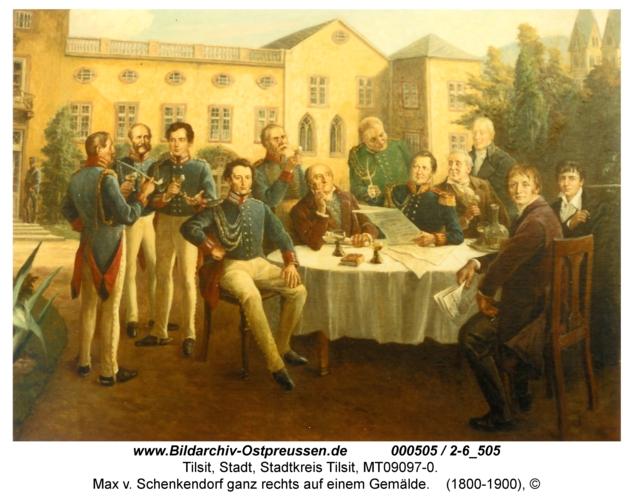Tilsit, Max v. Schenkendorf ganz rechts auf einem Gemälde