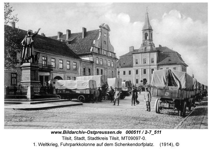 Tilsit, 1. Weltkrieg, Fuhrparkkolonne auf dem Schenkendorfplatz