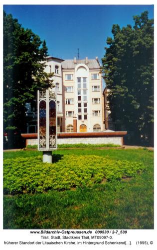 Tilsit, früherer Standort der Litauischen Kirche, im Hintergrund Schenkendorfplatz