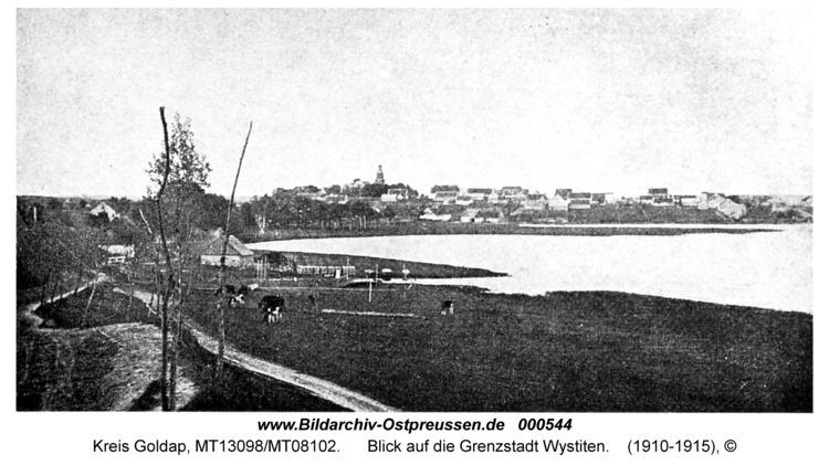 Wystiter See, Blick auf die Grenzstadt Wystiten