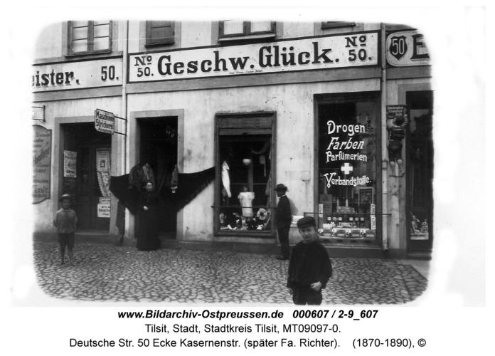 Tilsit, Deutsche Str. 50 Ecke Kasernenstr. (später Fa. Richter)