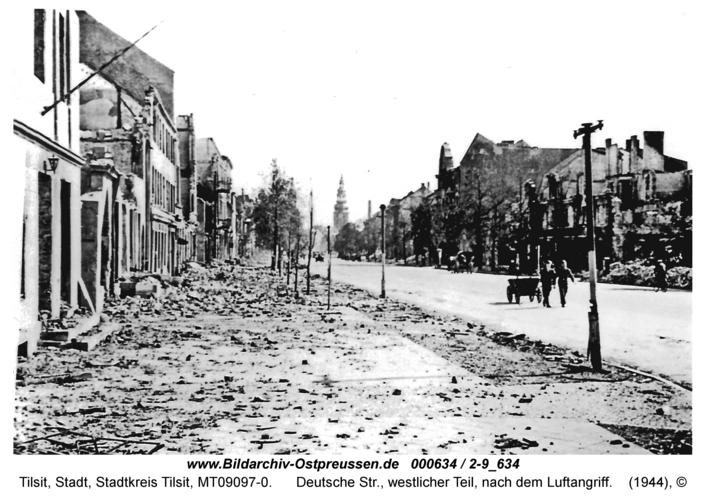 Tilsit, Deutsche Str., westlicher Teil, nach dem Luftangriff
