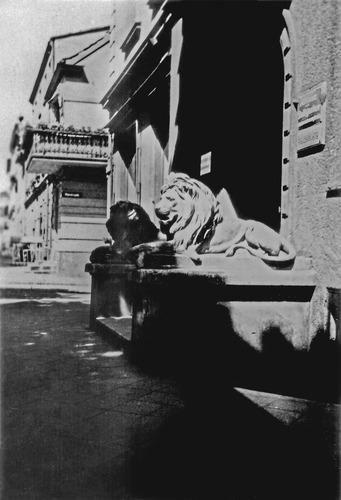 Tilsit, Deutsche Str. 21, Hauseingang mit zwei Löwen