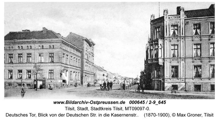 Tilsit, Deutsches Tor, Blick von der Deutschen Str. in die Kasernenstr.