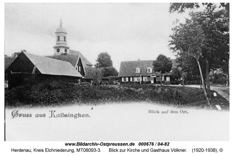 Herdenau, Blick zur Kirche und Gasthaus Völkner