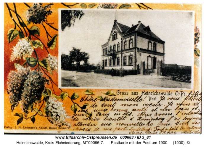 Heinrichswalde, Postkarte mit der Post um 1900