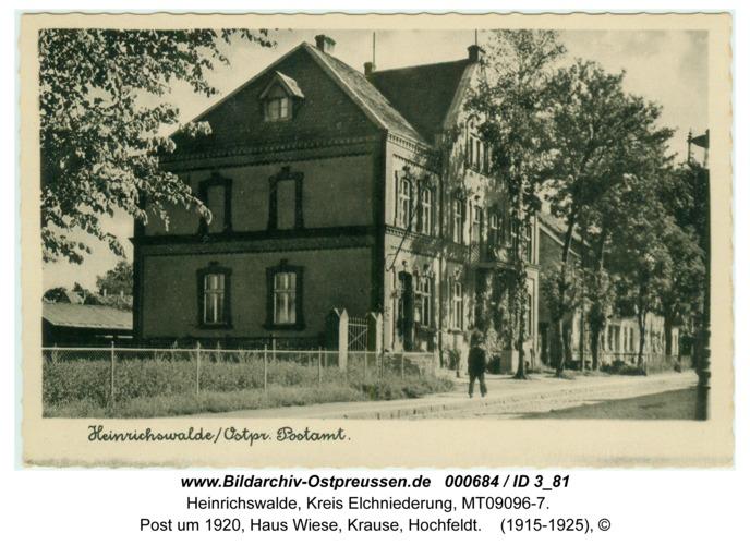 Heinrichswalde, Post um 1920, Haus Wiese, Krause, Hochfeldt