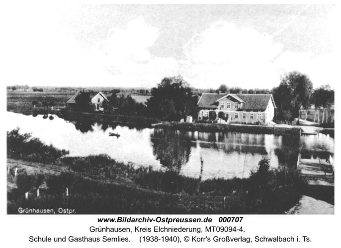 Grünhausen, Schule und Gasthaus Semlies