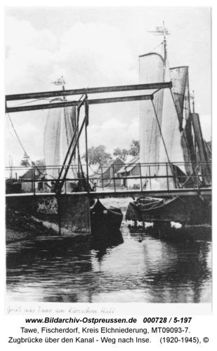 Tawe, Zugbrücke über den Kanal - Weg nach Inse