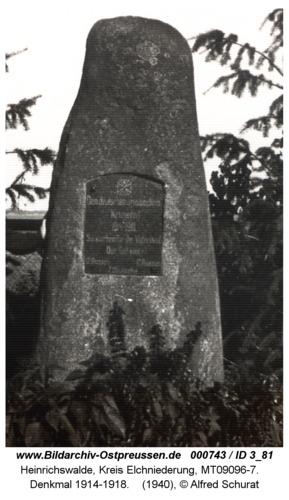 Heinrichswalde, Denkmal 1914-1918