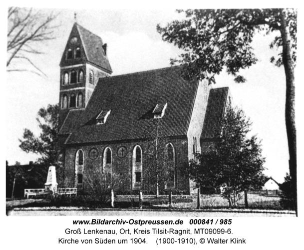 Groß Lenkenau, Kirche von Süden um 1904